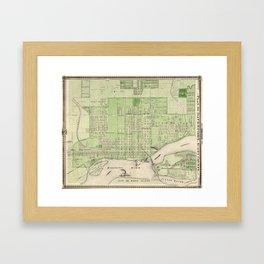 Vintage Map of Davenport Iowa (1875) Framed Art Print