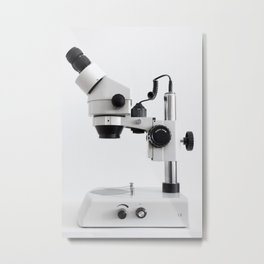 Microscope black white Metal Print