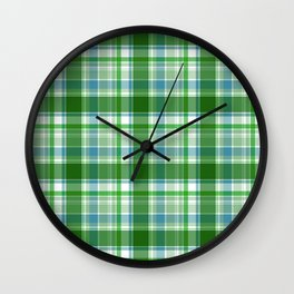 Blue and green Tartan (Scotch) Pattern Wall Clock