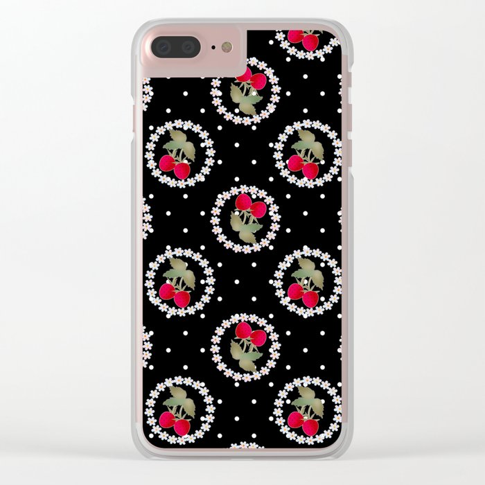 Floral pattern retro . Strawberry. Clear iPhone Case