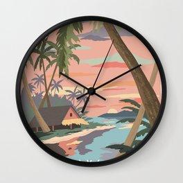 Aloha Hawaii Travel Poster Wall Clock