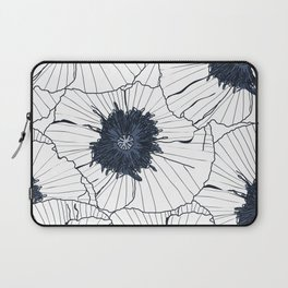 Navy and white poppies Laptop Sleeve