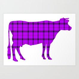 Cow: Purple Plaid Art Print