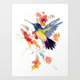 Hummingbird, floral bird art, soft colors Art Print