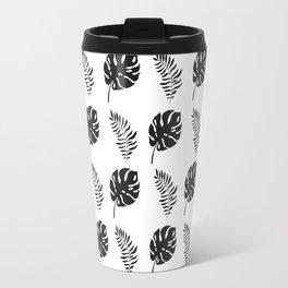 black and white tropical leaves Travel Mug