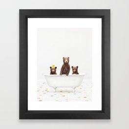 3 Little Bears with Rubber Ducky in Vintage Bathtub Framed Art Print