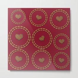 Burgundy & Gold Heart Pattern Metal Print