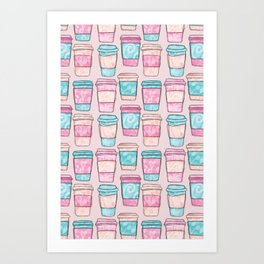 Coffee Cups | Original Pink Palette Art Print