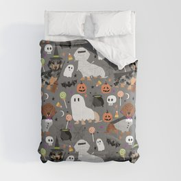 Dachshund dog breed halloween cute pattern doxie dachsie dog costumes Comforters