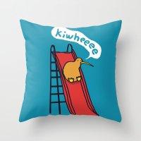 kiwi Throw Pillows featuring Kiwi by Picomodi