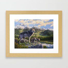 Mother Gray Wolf and Pups River Valley Framed Art Print