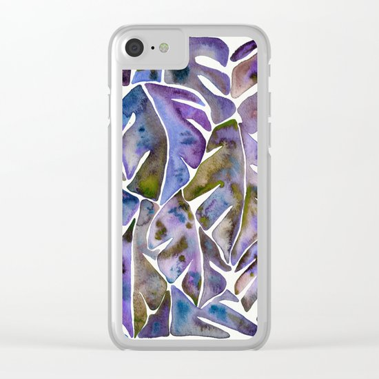 Split Leaf Philodendron – Purple Clear iPhone Case