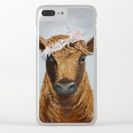 Crowned Cow Clear iPhone Case