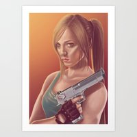 lara croft Art Prints featuring Lara Croft by Steven Herbers
