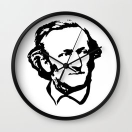 Richard Wagner Black On White Wall Clock