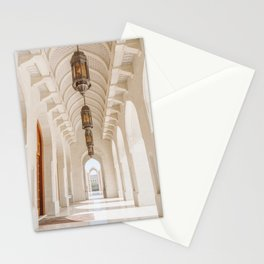 White Marble Arches of the Grand Mosque in Muscat, Oman Stationery Cards