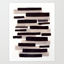 Grey Primitive Stripes Mid Century Modern Minimalist Watercolor Gouache Painting Colorful Stripes Wa Art Print