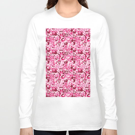 Pug Camouflage Pink Long Sleeve T-shirt