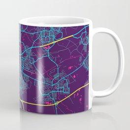 Eindhoven Neon City Map, Eindhoven Minimalist City Map Art Print Coffee Mug