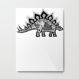 Stegosaurus Lace - Black Metal Print