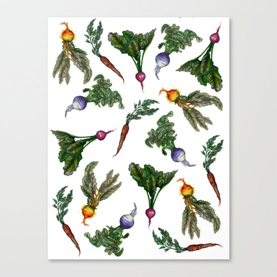 Watercolor Veggies Canvas Print