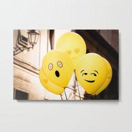 A bunch of floating yellow Emoji balloons Metal Print