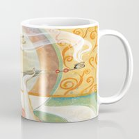 gustav klimt Mugs featuring Klimt Oiran by Sara Richard