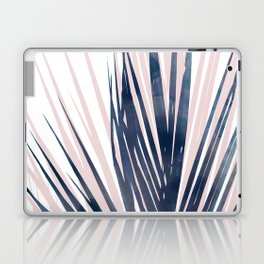 Contemporary Palm Leaf in Navy Blue and Blush Pink Laptop & iPad Skin