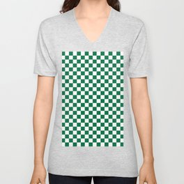 White and Cadmium Green Checkerboard Unisex V-Neck