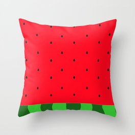 Watermelon Red and Green Art Throw Pillow