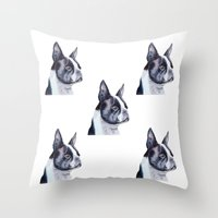 terrier Throw Pillows featuring Boston terrier by Doggyshop