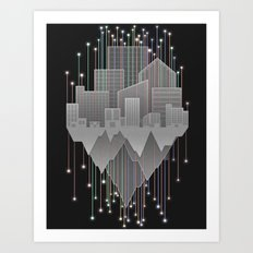 Mountains And Stars Under The City Art Print