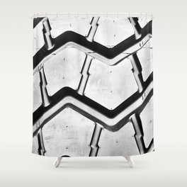 Black rubber tire background Shower Curtain