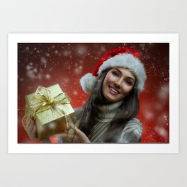 Holiday Christmas Santa Hat Woman Gift Smile Brune Art Print