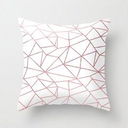 Stylish elegant faux rose pink gold geometrical pattern Throw Pillow