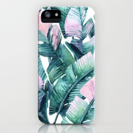 Tropical Banana Leaves Green Hues Pastel Colors Leaf Pattern iPhone Case