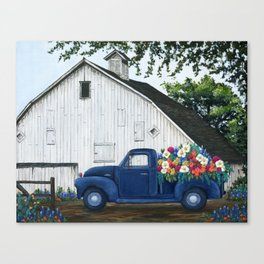Flower Farm Truck Canvas Print