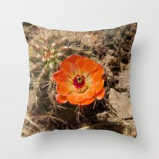 Cactus Flower (Landscape) Throw Pillow