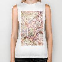 cincinnati Biker Tanks featuring Cincinnati by MapMapMaps.Watercolors