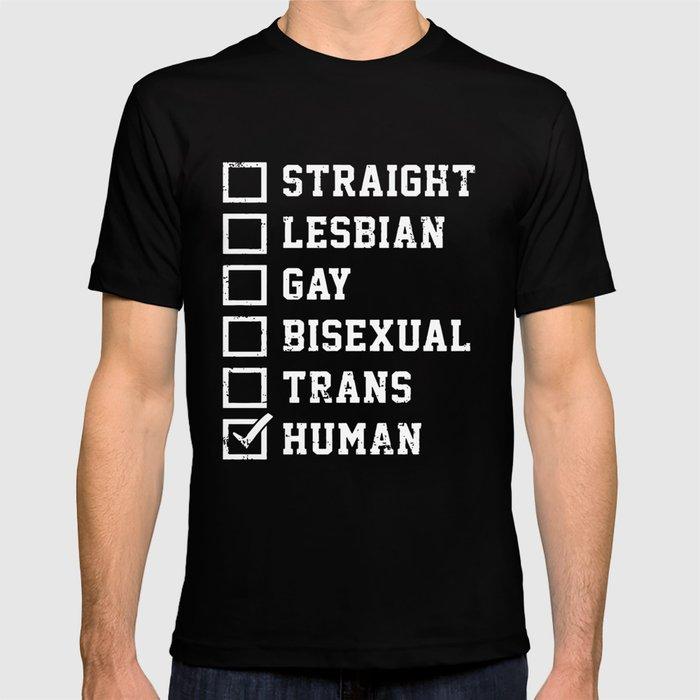 f5950a7a9712 Straight Lesbian Gay Bisexual Trans Humans Checklist Pride Fashion Novelty  Mens Gay T-Shirts T-shirt