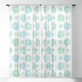 Trendy modern turquoise teal cute cactus pattern Sheer Curtain
