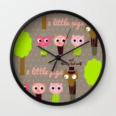 3 Little pigs Wall Clock