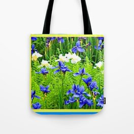 WHITE-BLUE IRIS & FERNS GARDEN Tote Bag