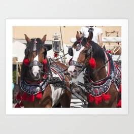 Two horses with traditional carriage for tourists in Krakow on the market square. Cabman in the back Art Print