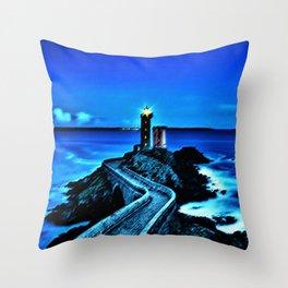 Plouzane Lighthouse, France Landscape by Jeanpaul Ferro Throw Pillow