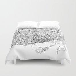 Toronto Map White Duvet Cover