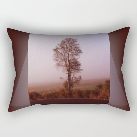 Standing alone in the fog Rectangular Pillow