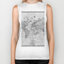 Black and White World Map (1801) Biker Tank