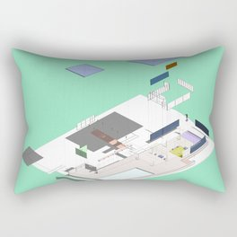 Exploded Barcelona drawing Minty Rectangular Pillow