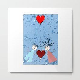 Floating in love with love Couples Metal Print